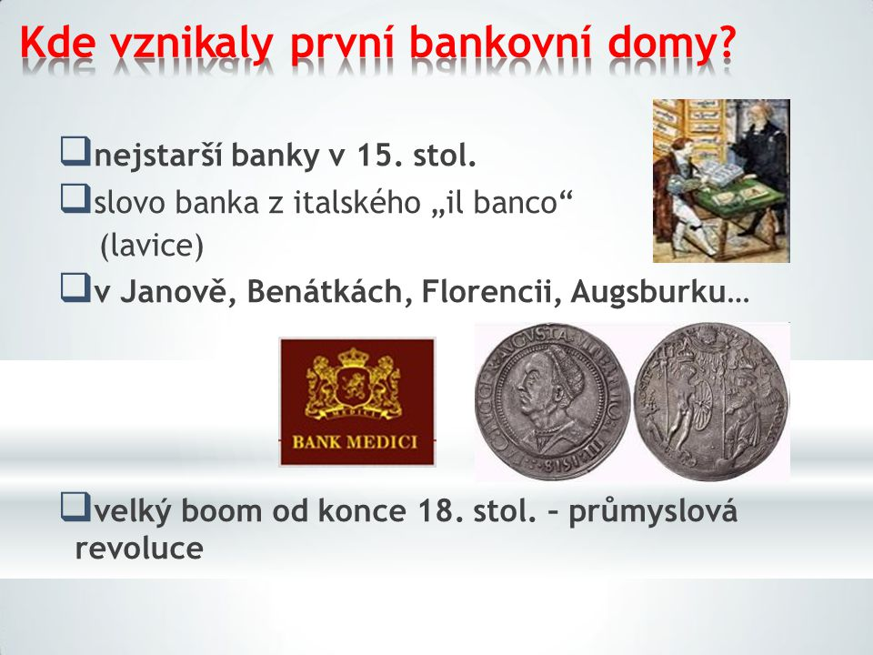 Kde vznikaly první bankovní domy