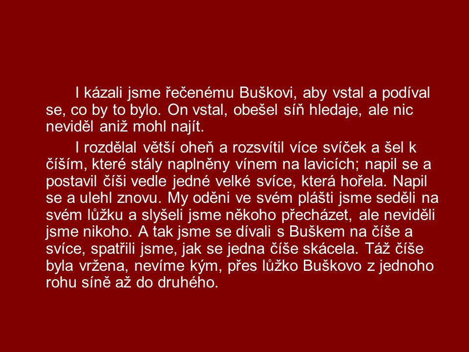 I kázali jsme řečenému Buškovi, aby vstal a podíval se, co by to bylo