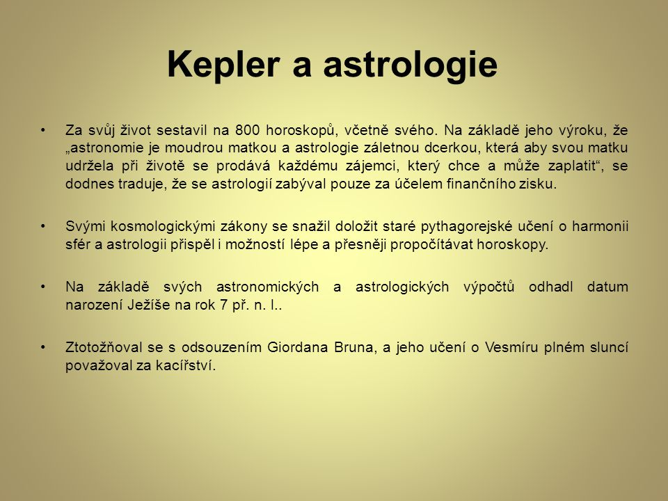 Kepler a astrologie