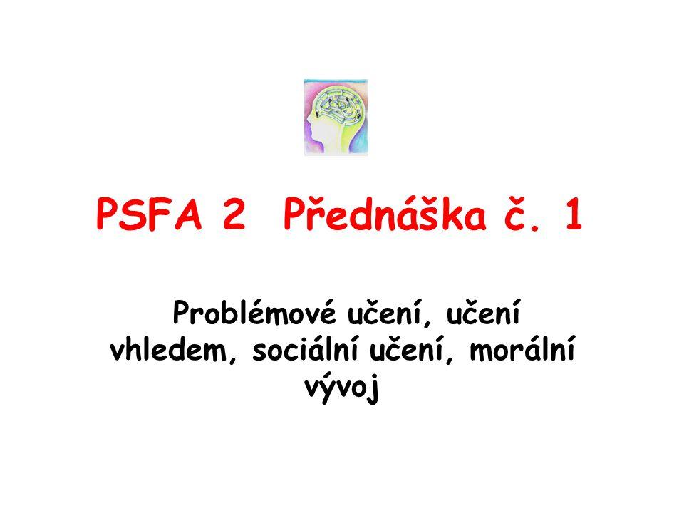 Problémové učení, učení vhledem, sociální učení, morální vývoj