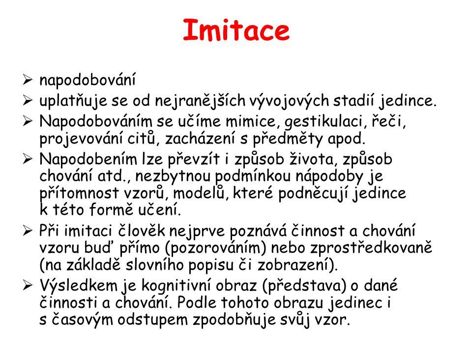 Imitace napodobování. uplatňuje se od nejranějších vývojových stadií jedince.