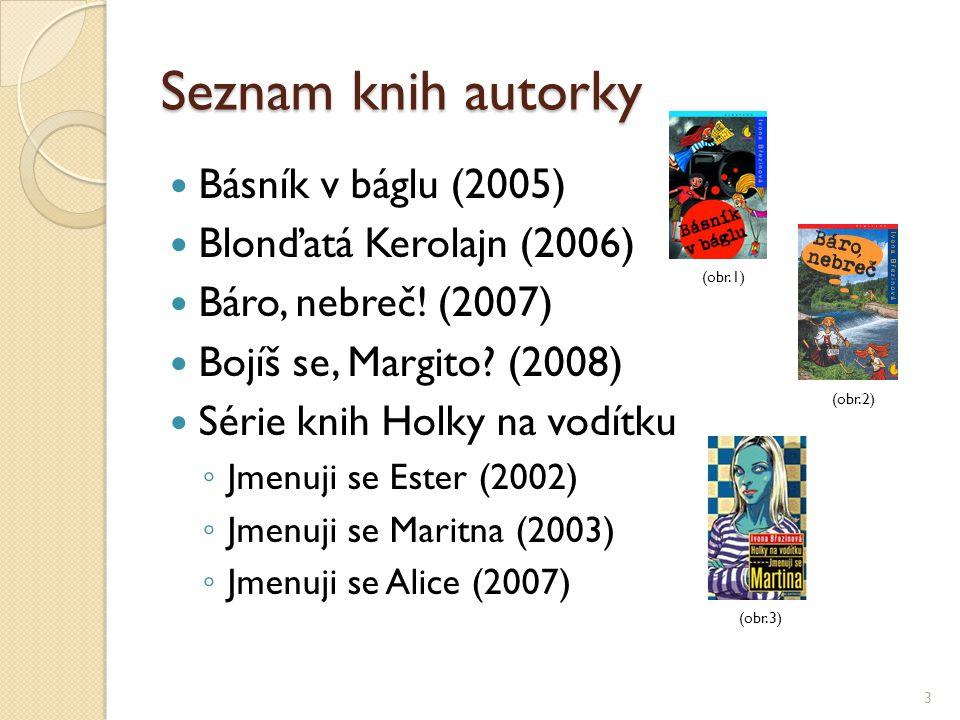 Seznam knih autorky Básník v báglu (2005) Blonďatá Kerolajn (2006)