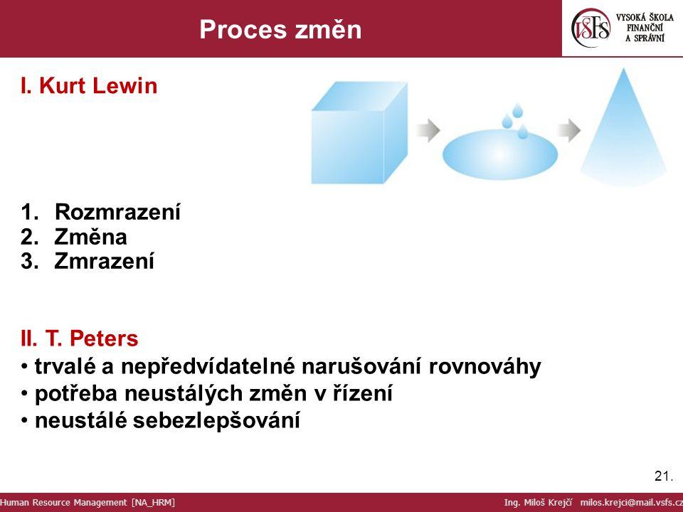 Proces změn I. Kurt Lewin Rozmrazení Změna Zmrazení II. T. Peters
