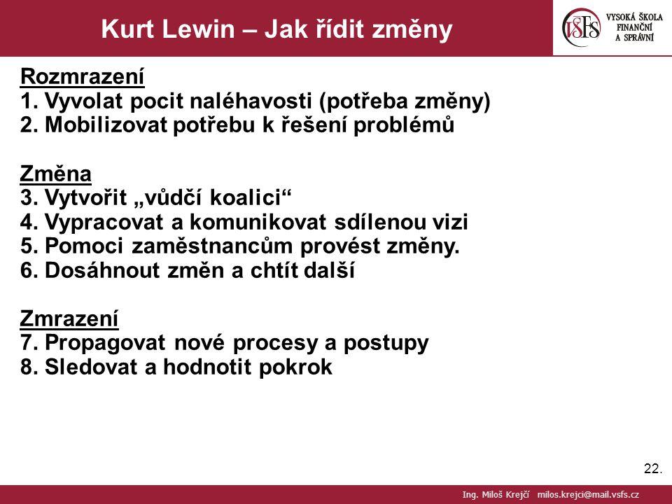 Kurt Lewin – Jak řídit změny