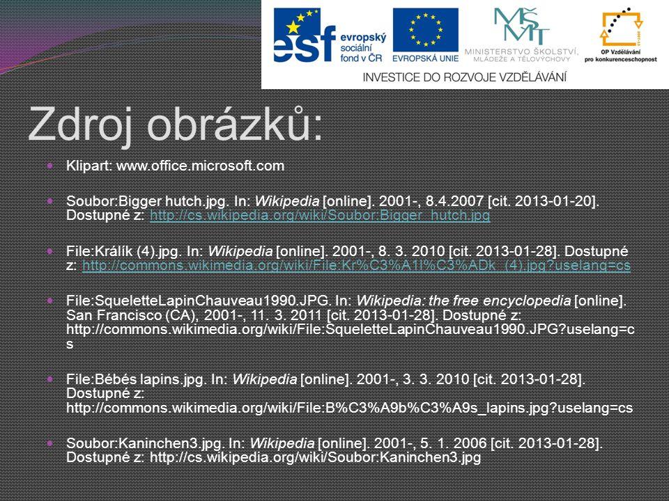 Zdroj obrázků: Klipart: www.office.microsoft.com