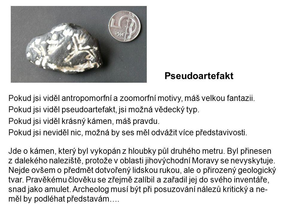 Pseudoartefakt Pokud jsi viděl antropomorfní a zoomorfní motivy, máš velkou fantazii. Pokud jsi viděl pseudoartefakt, jsi možná vědecký typ.