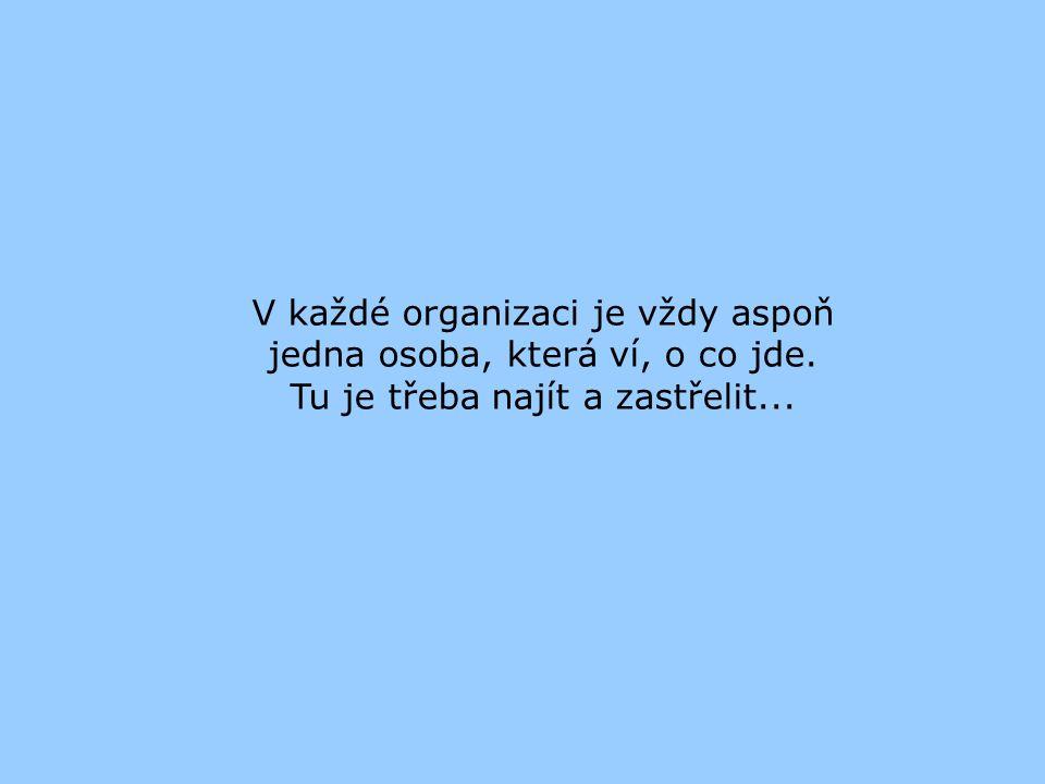 V každé organizaci je vždy aspoň jedna osoba, která ví, o co jde.