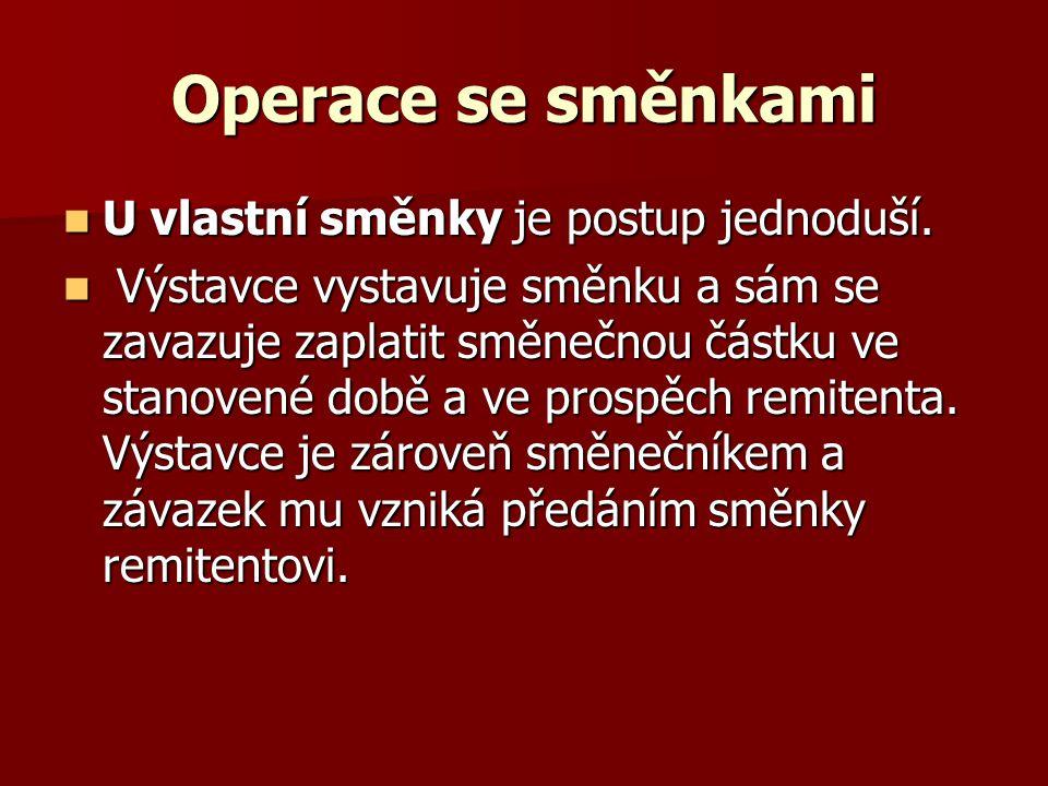 Operace se směnkami U vlastní směnky je postup jednoduší.