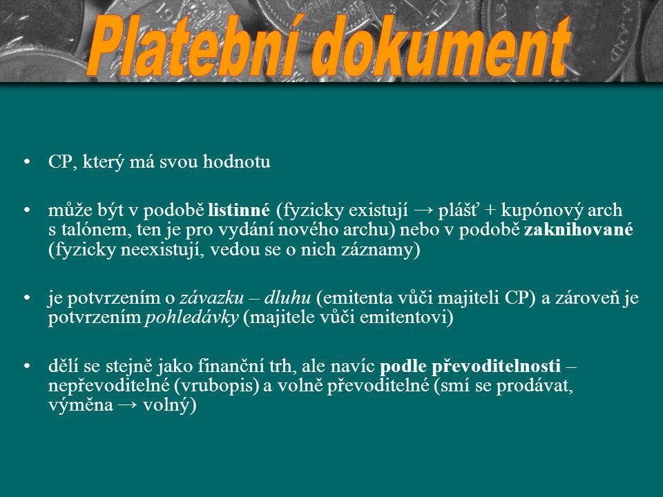 Platební dokument CP, který má svou hodnotu
