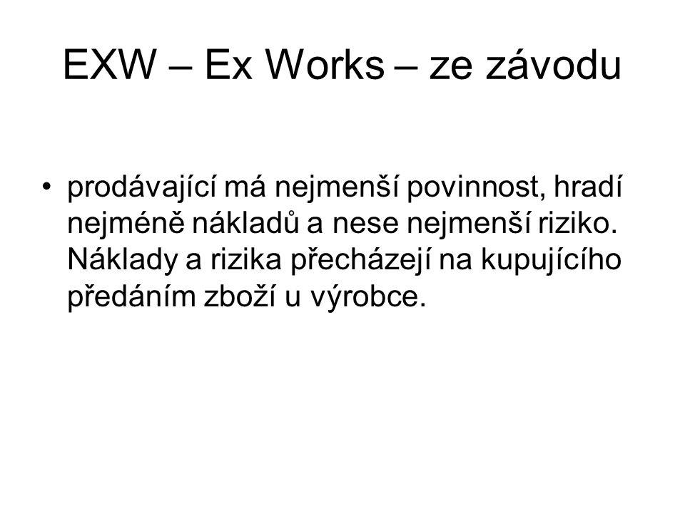 EXW – Ex Works – ze závodu