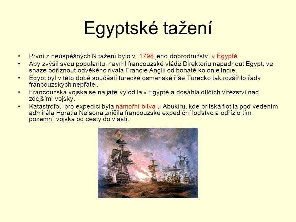 Egyptské tažení První z neúspěšných N.tažení bylo v .1798 jeho dobrodružství v Egyptě.