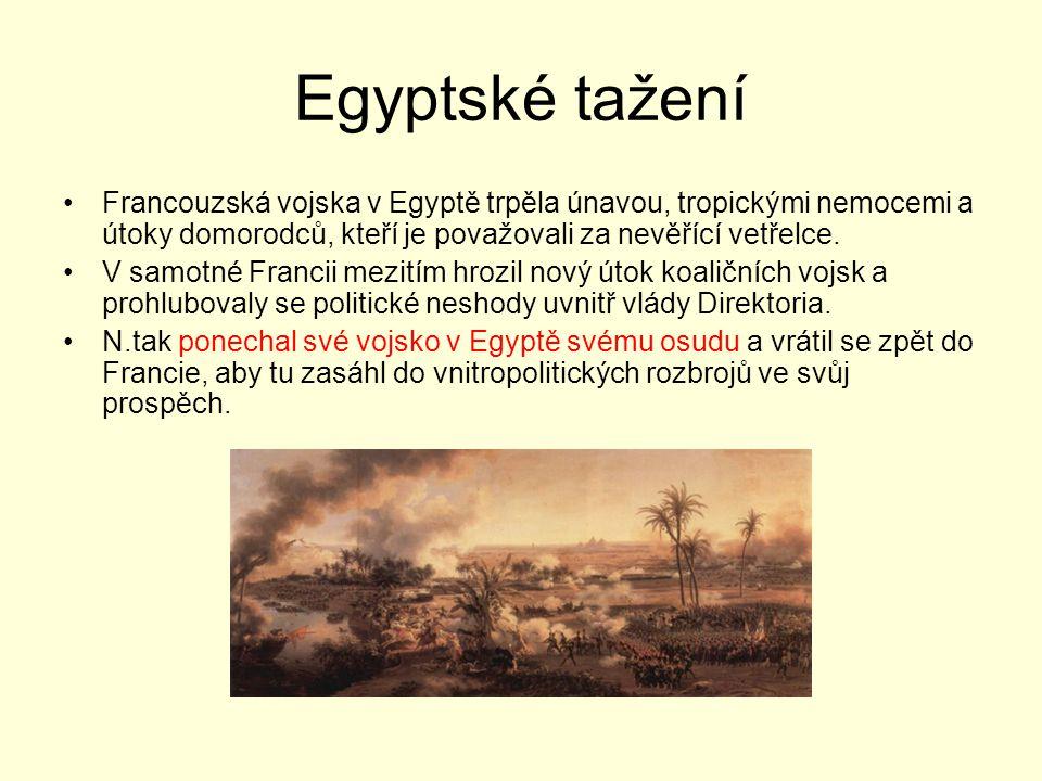 Egyptské tažení Francouzská vojska v Egyptě trpěla únavou, tropickými nemocemi a útoky domorodců, kteří je považovali za nevěřící vetřelce.