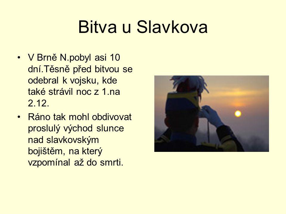 Bitva u Slavkova V Brně N.pobyl asi 10 dní.Těsně před bitvou se odebral k vojsku, kde také strávil noc z 1.na 2.12.