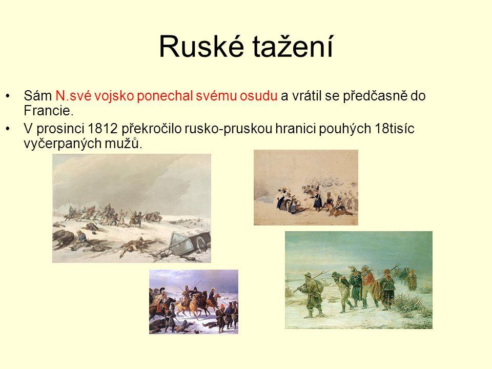 Ruské tažení Sám N.své vojsko ponechal svému osudu a vrátil se předčasně do Francie.