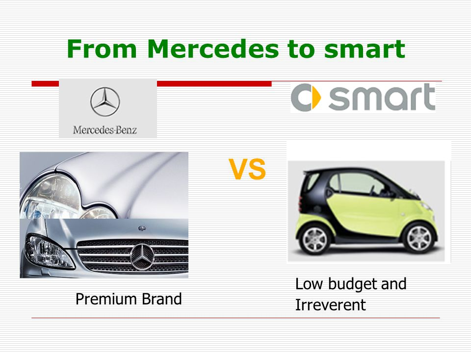 From Mercedes to smart VS Low budget and Irreverent Premium Brand