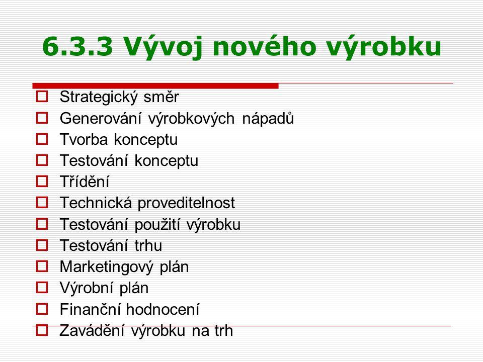 6.3.3 Vývoj nového výrobku Strategický směr