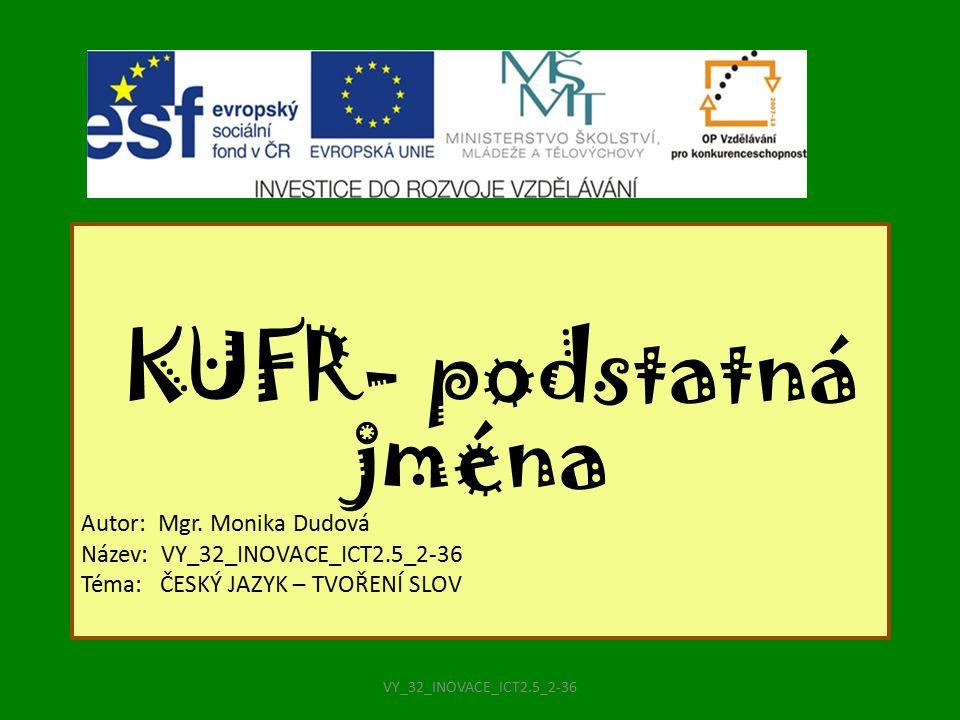 KUFR- podstatná jména Autor: Mgr. Monika Dudová