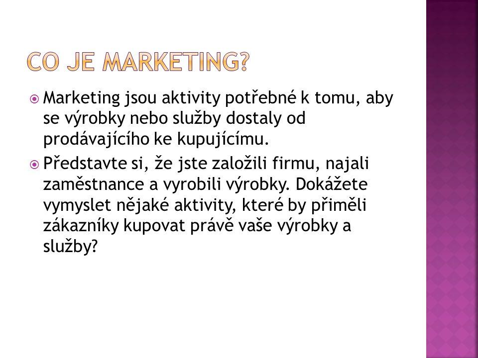 Co je marketing Marketing jsou aktivity potřebné k tomu, aby se výrobky nebo služby dostaly od prodávajícího ke kupujícímu.
