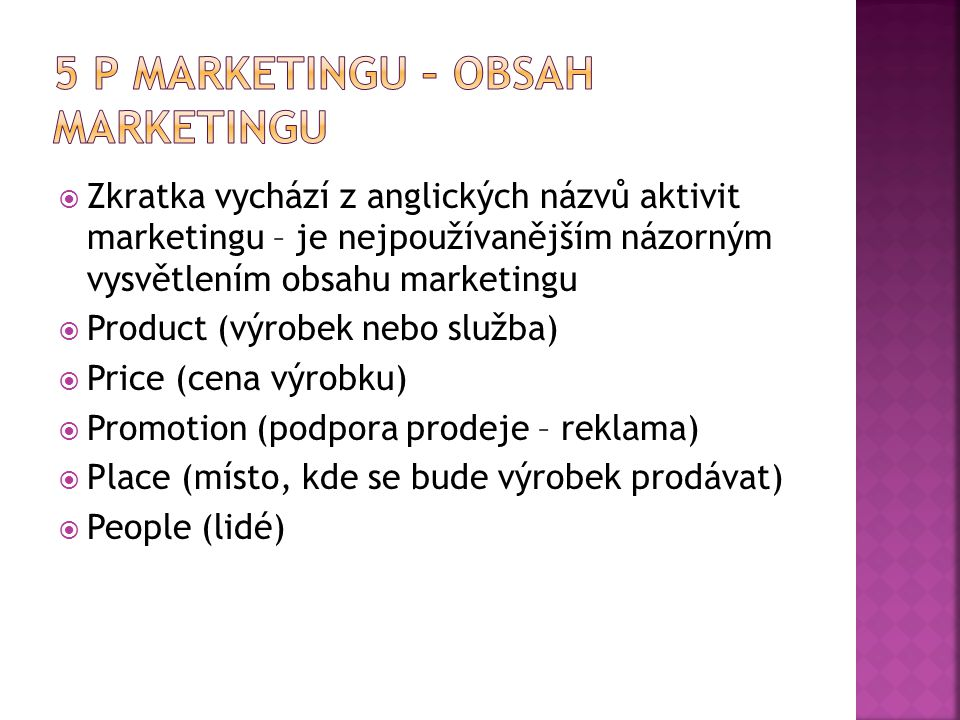 5 P marketingu – obsah marketingu