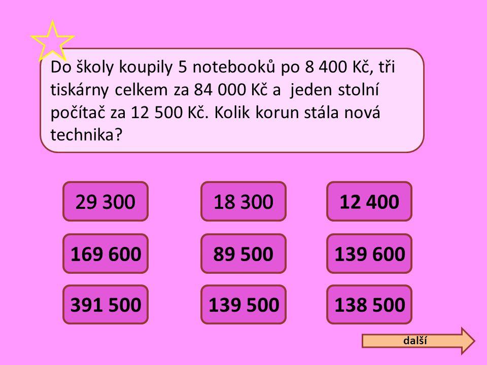 Do školy koupily 5 notebooků po 8 400 Kč, tři tiskárny celkem za 84 000 Kč a jeden stolní počítač za 12 500 Kč. Kolik korun stála nová technika