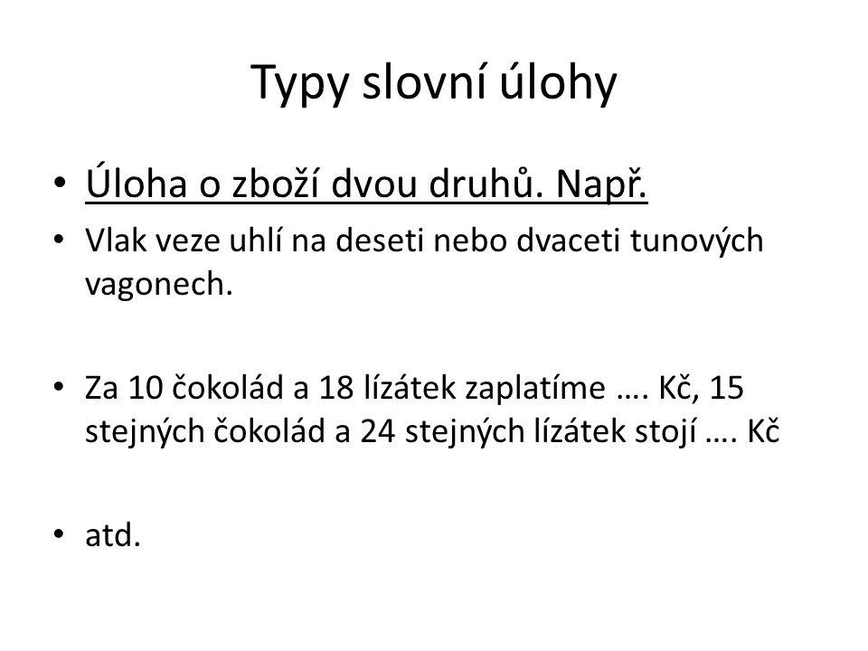 Typy slovní úlohy Úloha o zboží dvou druhů. Např.