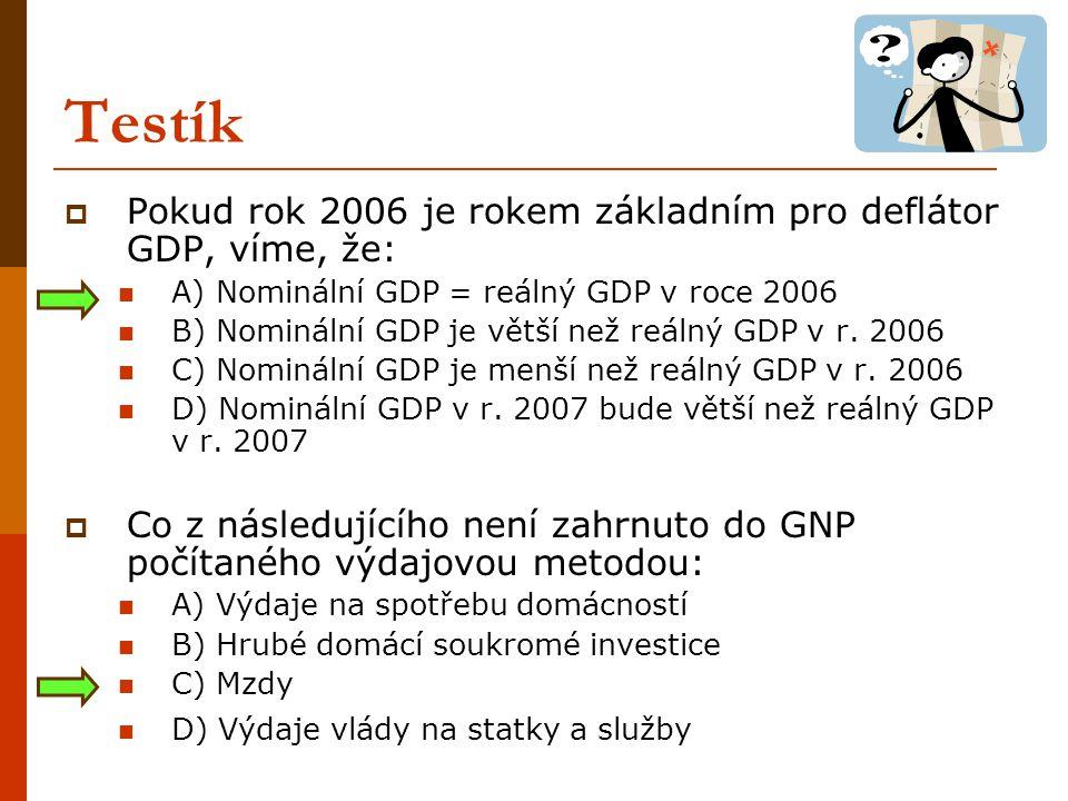 Testík Pokud rok 2006 je rokem základním pro deflátor GDP, víme, že: