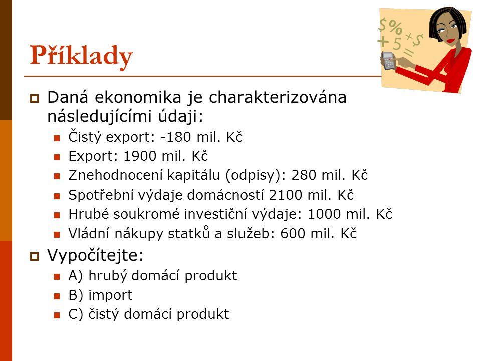 Příklady Daná ekonomika je charakterizována následujícími údaji: