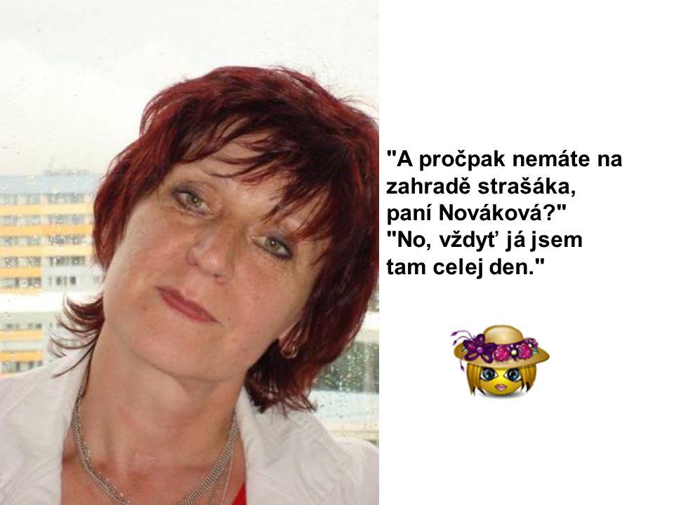 A pročpak nemáte na zahradě strašáka, paní Nováková No, vždyť já jsem tam celej den.