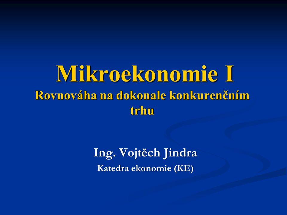 Mikroekonomie I Rovnováha na dokonale konkurenčním trhu