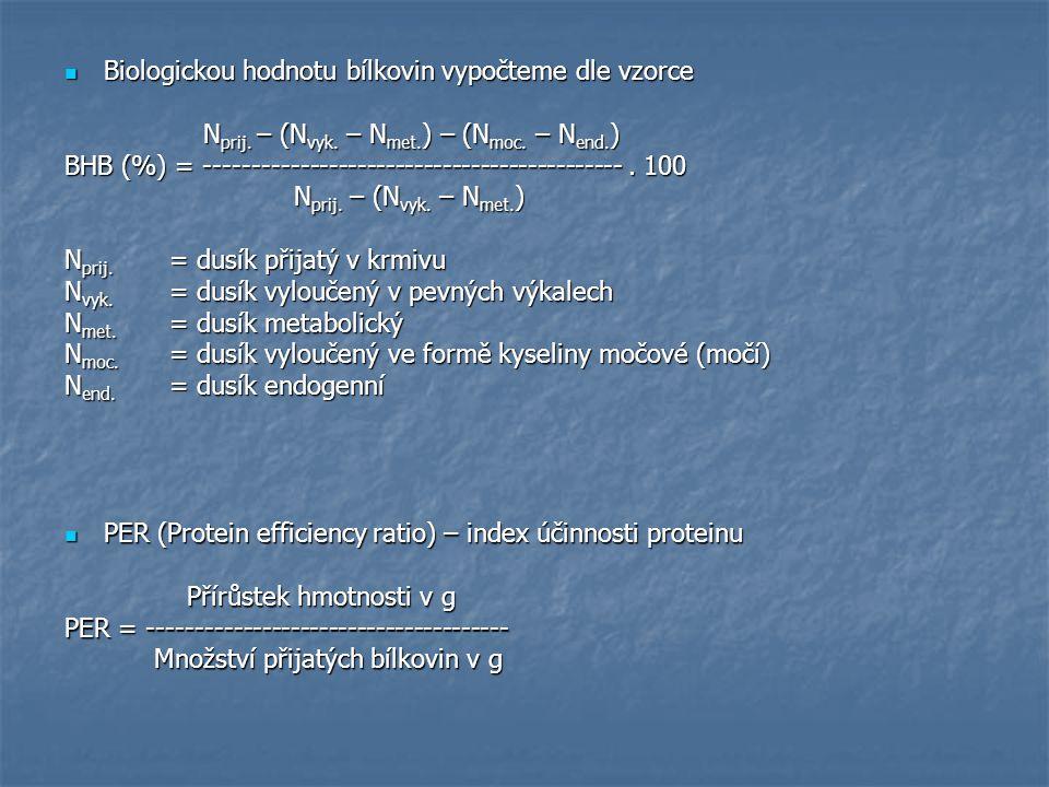 Biologickou hodnotu bílkovin vypočteme dle vzorce
