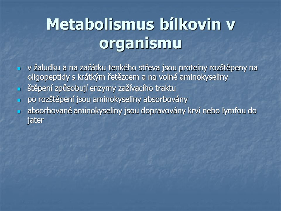 Metabolismus bílkovin v organismu