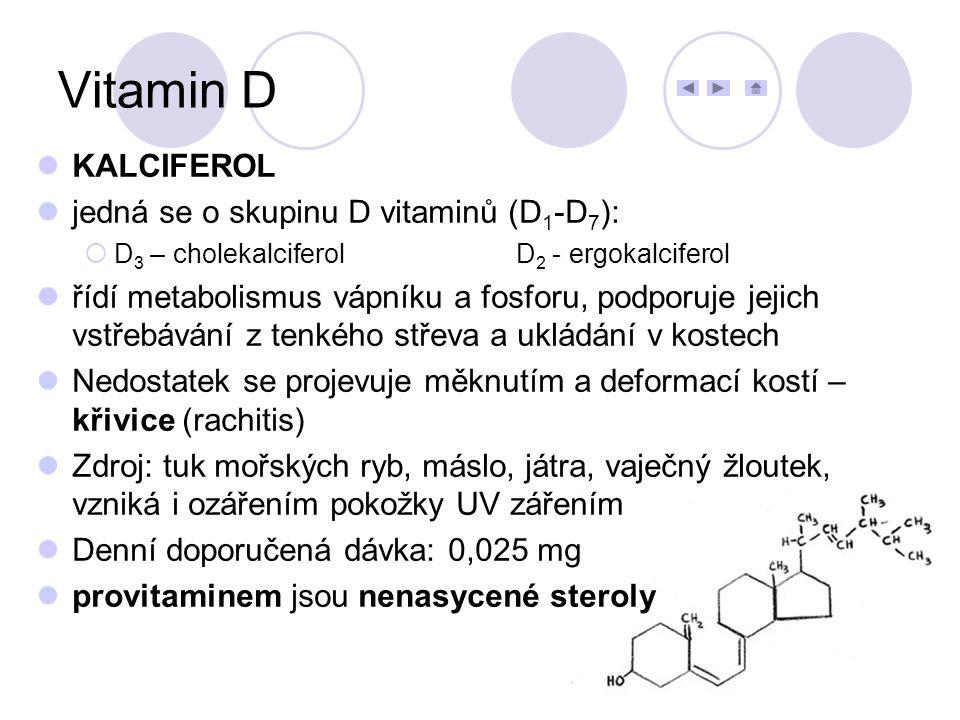 Vitamin D KALCIFEROL jedná se o skupinu D vitaminů (D1-D7):