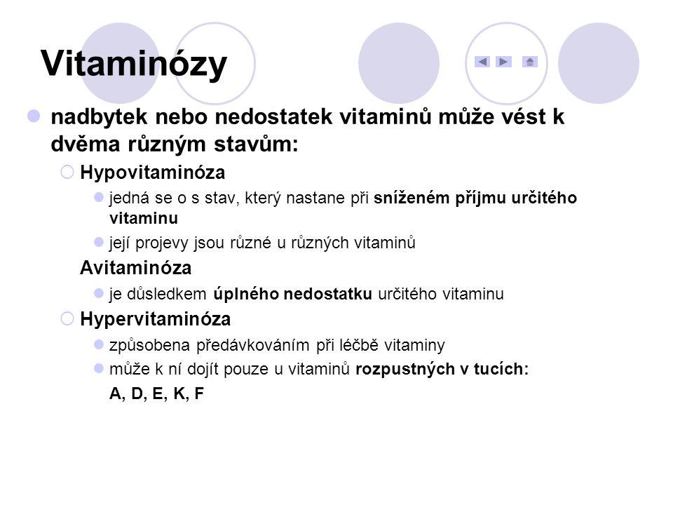 Vitaminózy nadbytek nebo nedostatek vitaminů může vést k dvěma různým stavům: Hypovitaminóza.