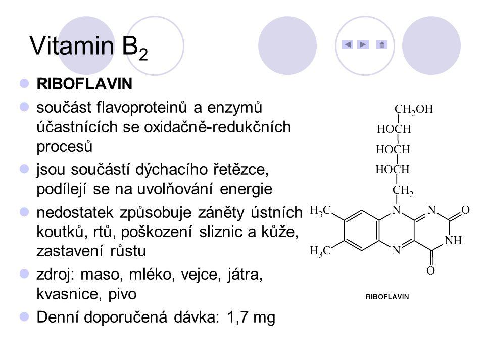 Vitamin B2 RIBOFLAVIN. součást flavoproteinů a enzymů účastnících se oxidačně-redukčních procesů.