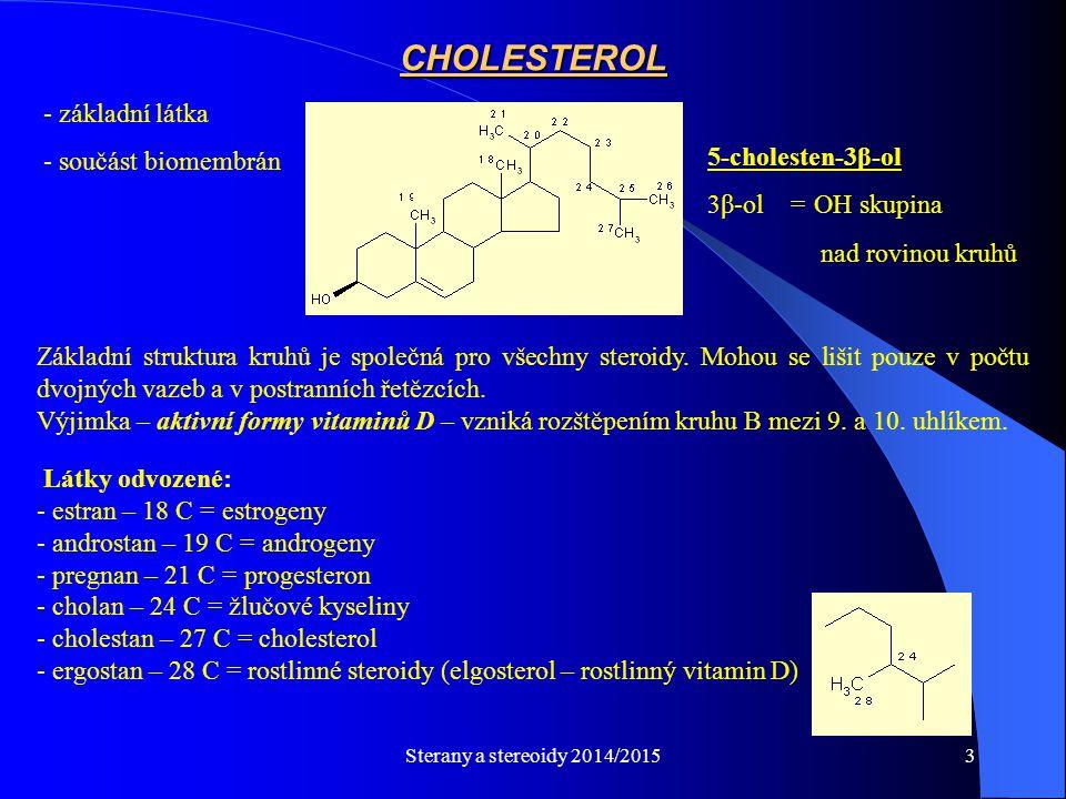 CHOLESTEROL základní látka součást biomembrán 5-cholesten-3β-ol
