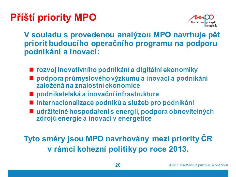Příští priority MPO V souladu s provedenou analýzou MPO navrhuje pět priorit budoucího operačního programu na podporu podnikání a inovací: