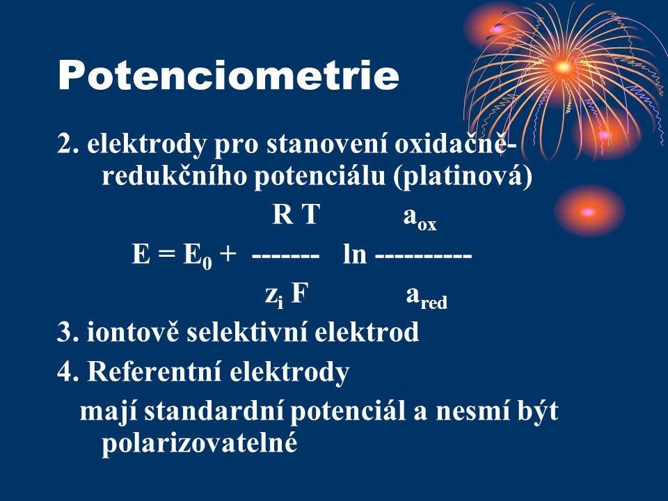 Potenciometrie 2. elektrody pro stanovení oxidačně-redukčního potenciálu (platinová) R T aox.