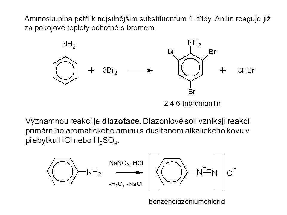 Aminoskupina patří k nejsilnějším substituentům 1. třídy