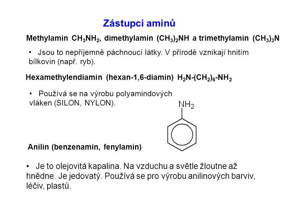 Zástupci aminů Methylamin CH3NH2, dimethylamin (CH3)2NH a trimethylamin (CH3)3N.