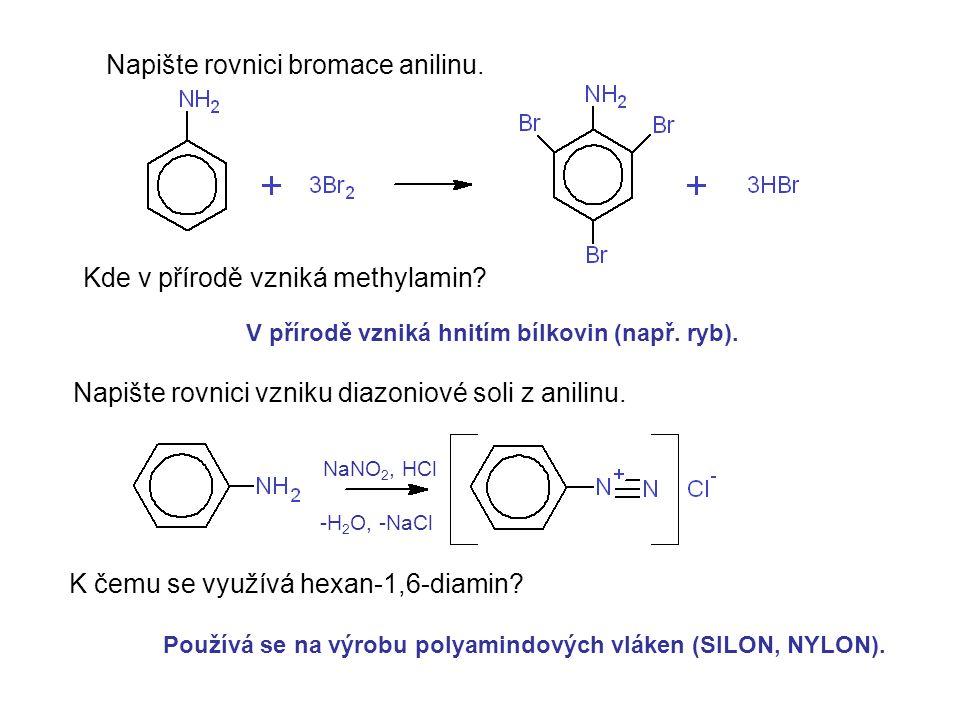 Napište rovnici bromace anilinu.