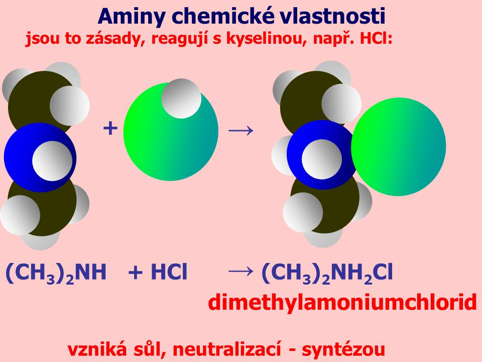 → → Aminy chemické vlastnosti + (CH3)2NH + HCl (CH3)2NH2Cl