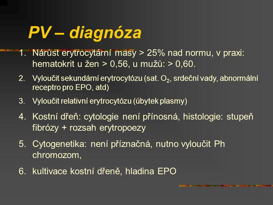 PV – diagnóza Nárůst erytrocytární masy > 25% nad normu, v praxi: hematokrit u žen > 0,56, u mužů: > 0,60.