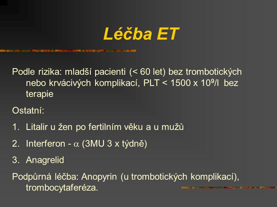 Léčba ET Podle rizika: mladší pacienti (< 60 let) bez trombotických nebo krvácivých komplikací, PLT < 1500 x 109/l bez terapie.