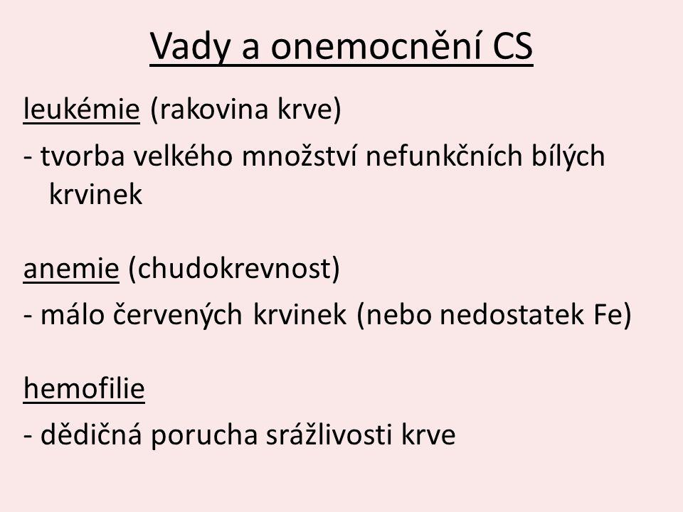 Vady a onemocnění CS