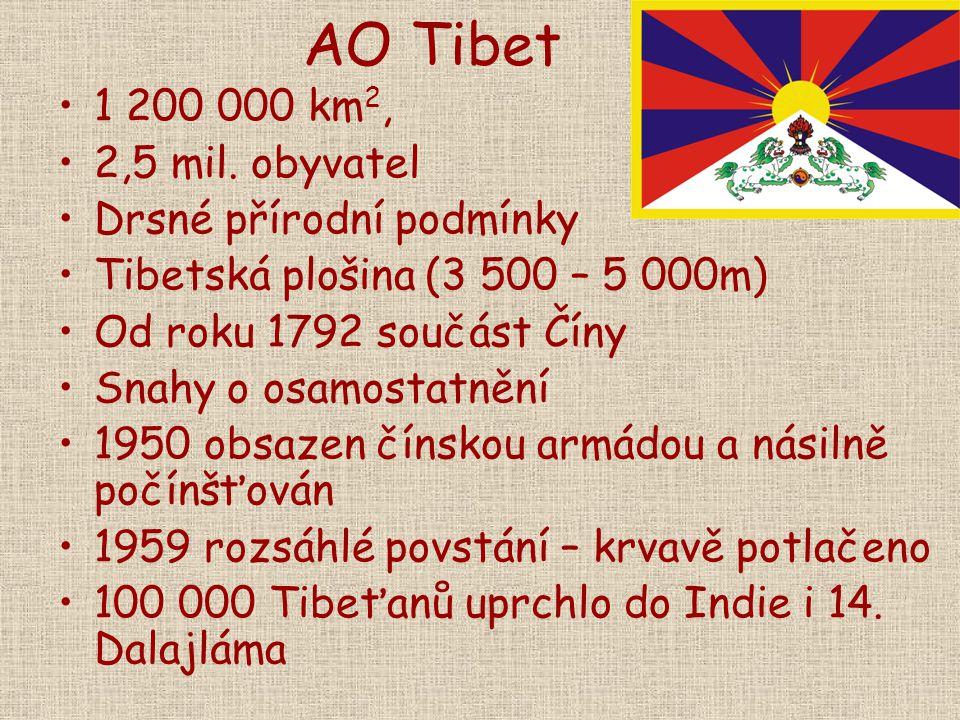 AO Tibet 1 200 000 km2, 2,5 mil. obyvatel Drsné přírodní podmínky