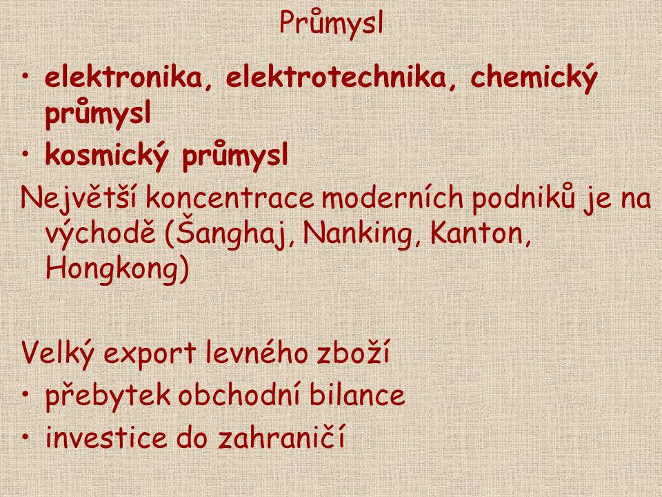 Průmysl elektronika, elektrotechnika, chemický průmysl. kosmický průmysl.