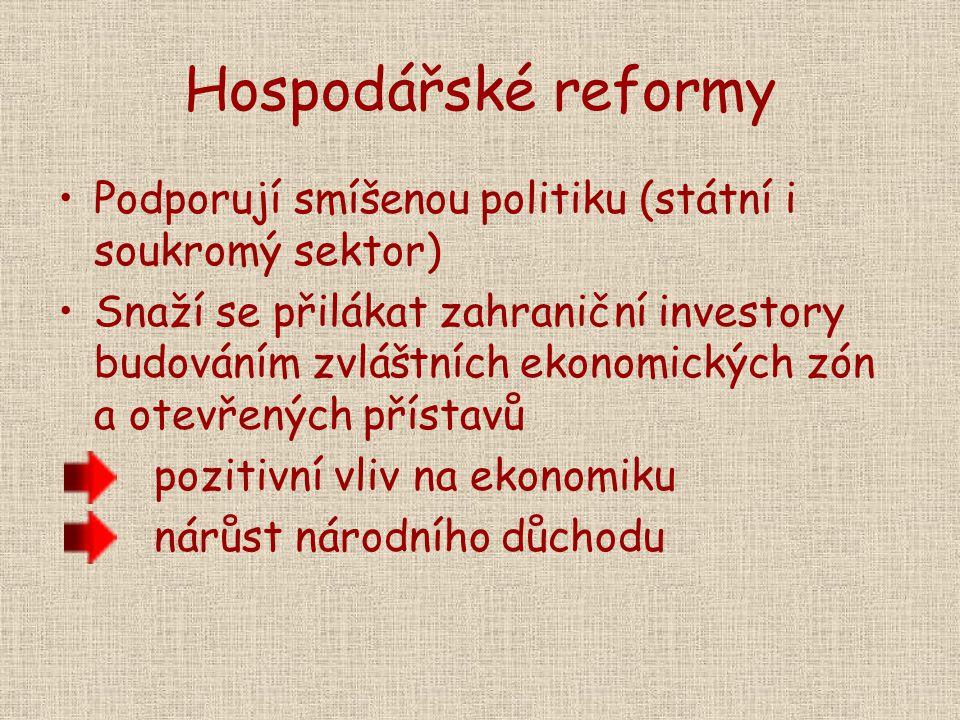Hospodářské reformy Podporují smíšenou politiku (státní i soukromý sektor)