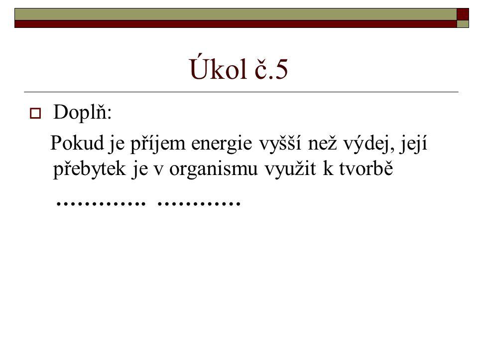 Úkol č.5 Doplň: Pokud je příjem energie vyšší než výdej, její přebytek je v organismu využit k tvorbě.