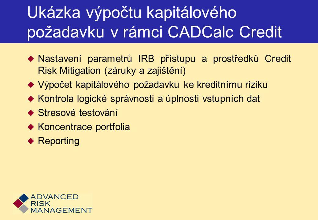 Ukázka výpočtu kapitálového požadavku v rámci CADCalc Credit