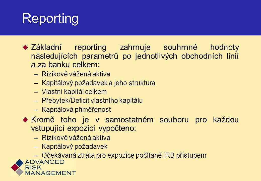 Reporting Základní reporting zahrnuje souhrnné hodnoty následujících parametrů po jednotlivých obchodních linií a za banku celkem: